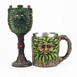 foglia di vino Sconti Gothic Wine Calice Con Green Tree Leaf Uomo Retro Stainless SteelResin Wine Cup MIGLIOR Regali di compleanno di Halloween Drinkware Home Decor