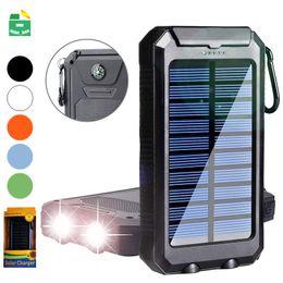 Samsung solarlader handy online-Solar Power Bank 10000mAh Dual USB Ausgang Externer Akku Outdoor Travel Wasserdichtes Ladegerät Powerbank Für Handy