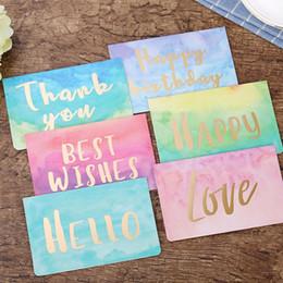 Cartão de dobramento novo on-line-Hot Gold Folding Aquarela Olá Cartão de Aniversário Cartão de Mensagem com envelope de Saudação de Ano Novo de Natal