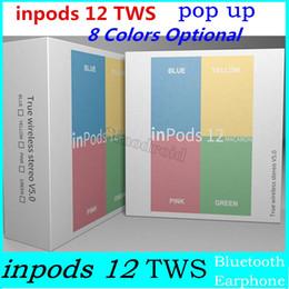 i12 MACARON Colore Bluetooth Wireless TWS inpods 12 auricolari con controllo a sfioramento della finestra pop-up HIFI 3D Cuffie stereo inpods12 auricolari 10 pezzi da