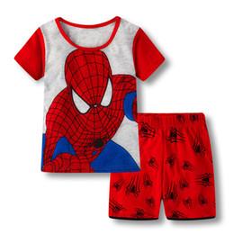 Kinder kurzarm pyjama online-Sommer Baby Schlaf Trägt Anzüge Jungen Pyjamas Kinder Pyjamas Mädchen Cartoon Kurzarm Pijamas Kinder Nachtwäsche Nachtwäsche Et56
