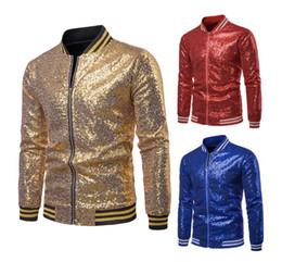 Revestimento do terno do sequin dos homens on-line-Homens Sparkly Sequins Jacket Blazer Suit Casual Brasão Mulheres com nervuras revestimento de bombardeiro para o partido Banquete de Casamento Prom S -XXL