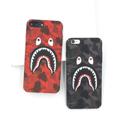 Étui iphone bouche en Ligne-Pour iPhone X Téléphone Case Mode Camouflage Requin Bouche Motif Mat Mat Dur PC Cases Pour iPhone 7 8 6 6 s Plus Couverture Coque