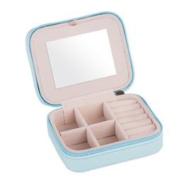 Orecchini a specchio online-Travel With Mirror Storage Holder Stud Stud Portable Jewelry Box Mini Organizer Zipper Ring per orecchini
