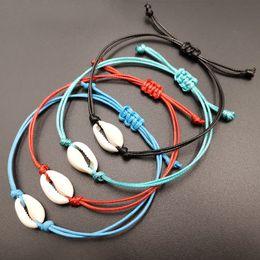 Fashion Boho Shell Charme Bracelet Kraft Papier Wish Card Cadeau À La Main Rouge String Bracelets pour Femmes Hommes Enfants Bijoux ? partir de fabricateur
