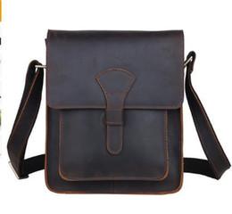 Sac à main en carton en Ligne-Hommes en cuir véritable Cross Body Messenger Bag Brun foncé Vintage Style Sac Pour IPad Crazy Horse En Cuir Petit