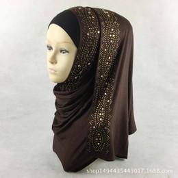 chiffon hijab schals Rabatt 15 Farben Glänzende Gold Strass Blase Chiffon Hijab-Schal moslemische islamische-Kopf-Verpackungs-Abdeckung fester Schal