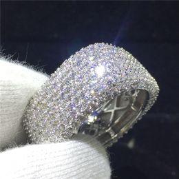 anéis de diamante grande Desconto Luxo Grande anel Completo de 300 peças Simulado Diamante 925 Anel de Noivado de Prata Esterlina Anel de Banda De Casamento Das Mulheres dedo presente