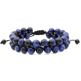 Pulseras de doble capa Ojo de tigre Lava Rock Blue Red Essential Pulsera 8mm Natural Healing Stone Beads Bangle Jewelry Ajustable desde fabricantes