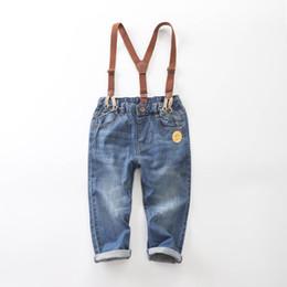 Jungen hosen hosenträger online-2019 herbst kinder jeans denim jungen jeans kinder designer kleidung jungen hosenträgerhose große kinder kleidung jungen kleidung hose A6585
