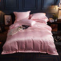california king size juegos de cama 3d Rebajas Color sólido Seda lavada Colcha de verano Twin Queen King Size Edredón Rosa Verano Cool Edredón Manta Ropa de cama Textiles para el hogar