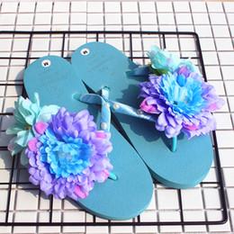 2019 scarpe da sci estate Sandali estivi da donna Pantofole da spiaggia a spina di pesce con fiore blu Scarpe basse con pendenza Bohemian Flip Flat scarpe da sci estate economici