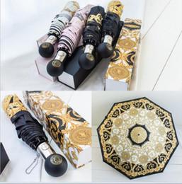 2019 guarda chuva automático Guarda-chuvas de luxo Semi Automático Folding Umbrella Caixa de Presente Embalagem Senhoras À Prova de Vento Ao Ar Livre Ultravioleta Chuva À Prova de Chuva Umbrella 4 Cores guarda chuva automático barato