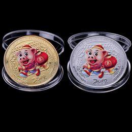 monete di fortuna Sconti 2019 Maiale Moneta commemorativa Anno del maiale Collezione di monete fortunate Regalo di Capodanno Placcato oro Buona fortuna buona fortuna 20 pezzi