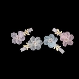 pink hair bow pearls Promo Codes - 1pc Butterfly Shell Pearl Camellia Side Bangs Clip Hair Accessories Rim Hair Clips Girls Hairpin Bow Hairgrips Gifts Hot Sale
