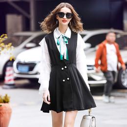 maglia bianca della camicia da letto Sconti Set da due pezzi Set da donna Set di abiti da donna 2019 abiti a due pezzi vestito E Top maglia nera nastri camicia bianca