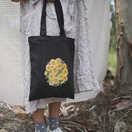 Bolsos blancos negros de la flor online-NJ SHOP Mujer Estudiante Lona de algodón Moda A cuadros Hombro Flores Bolso de compras de gran capacidad Monedero de lona Blanco / Negro