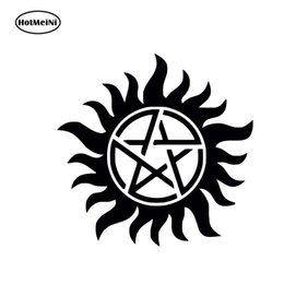 2019 calcomanías para camiones Comercio al por mayor 20 unids / lote Supernatural Anti Posession Sticker Bumper Vinyl Decal Car Sticker Truck SUV Ventana Blanco Cool Negro / Astilla 15x15cm rebajas calcomanías para camiones