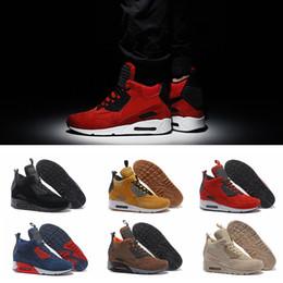 2019 alto invierno cortar zapatos corrientes 2019 Chaussures 90 Zapatillas de deporte de invierno Zapatillas de running Corte alto Calidad superior 90s Zapatillas de deporte para hombre Zapatillas de deporte de piel Zapatillas alto invierno cortar zapatos corrientes baratos