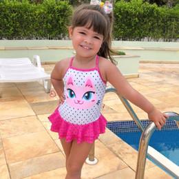 88686a8e0bd88 2019 New Baby Girls Swimwear Summer Children Girl Swimsuit Cute Cat Print  Swimwear Beach Bathing Suit Kids Clothes 1-4 Years