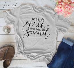 2019 vestiti religiosi Amazing Grace Come Clothes dolce suono fresco Christian maglietta religiosi T Moda Donna L'parti superiori della maglietta vestiti religiosi economici