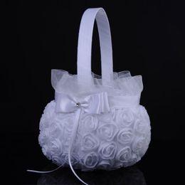 projetos da cesta da flor Desconto Adorável Design Flor Cesta para Festa de Cerimônia de Casamento Cetim Elegante Cestas De Flores New Elegante Seda Redonda