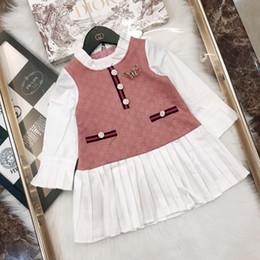 projetos da borboleta da roupa Desconto Crianças roupas de grife caem novas meninas vestido amassado gola e manguito projeto decorativo borboleta de malha de algodão e vestido de linho