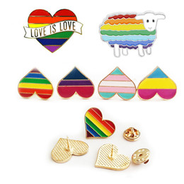 rainbow badge Coupons - Rainbow color Enamel LGBT Brooches For Women Men Gay Lesbian Pride Lapel Pins badge Fashion Jewelry in Bulk