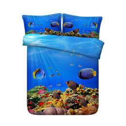 Shark Fish 3 Stücke Bettbezug-Sets 2 Kissen Shams Ocean Whale Print Bettwäsche-Sets Geschenke für Erwachsene Teen Kinder Jungen Mädchen Bett-Set KEINE Tröster von Fabrikanten
