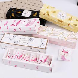 penas de flamingo Desconto Flamingo / Mármore / Padrão Pena Papel Embalagem Box nougat cookies Gift Box Chocolate Wedding Cake Bread Papelão Caixas