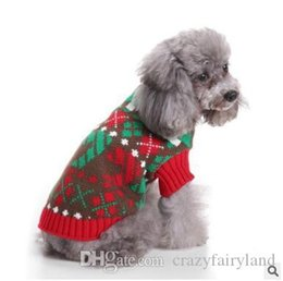 santa sweater Promo Codes - Christmas Striped Turtleneck Sweater For Dog Clothes Warm Knitted Xmas Santa Claus Pet Small Dog Sweater Clothing Coat Classic Pet Outfit