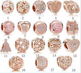 encantos de brillo Rebajas Hot fit Pandora Real 925 plata esterlina Cubic Zirconia encantos europeos Bead Fit cadena bricolaje pulsera para mujer color oro joyería de moda