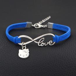 e3b97d139 hello kitty charm bracelet Canada - New Fashion Royal Blue Leather Suede  Cuff Bracelets & Bangles