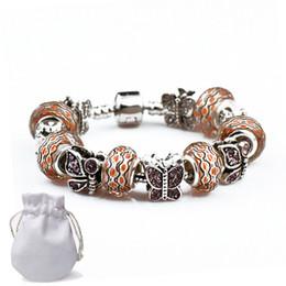 diamante ámbar Rebajas Las mejores pulseras del encanto plateado mujeres moda Fit Pandora brazaletes ámbar perlas de cristal diamante mariposa aleación accesorios de joyería P22