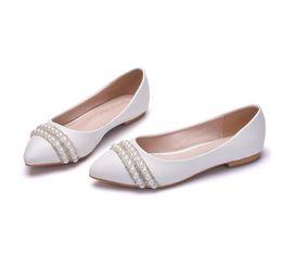 Chaussures de mariage plates chaussures de cristal chaussures de mariée Flatforms chaussures de gland perle strass confortable dîner blanc ? partir de fabricateur