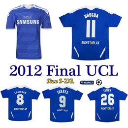 torres soccer jerseys Promo Codes - 2011 2012 Lampard Torres Drogba retro jersey TERRY Champion League Final 2012 soccer jersey MATA CAHILL vintage football shirt