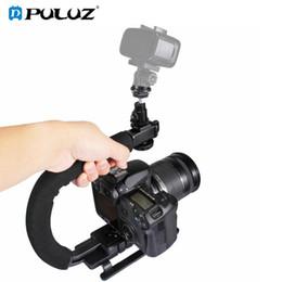 2019 suportes em forma de c PULUZ U / C Forma Portátil Handheld DV Bracket Kit Estabilizador com Sapata Fria Tripé Cabeça para o Telefone para Todas As Câmeras SLR desconto suportes em forma de c
