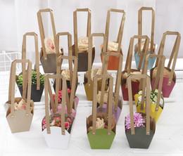 imballaggio bonsai Sconti Sacchetti impaccanti del fiore della borsa del pacchetto di carta del mestiere con la corda di carta Personalizzi il trasportatore del vaso della pianta del pacchetto dei bonsai