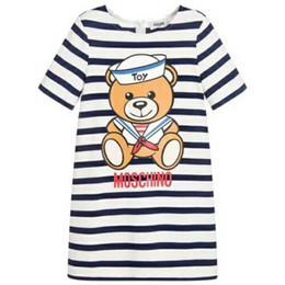 120 cm Kızlar bebek Yaz Dreess çocuklar çocuk Çizgili denizci ayı baskı kısa kollu elbise Marka giyim cheap sailor clothes nereden denizci kıyafetleri tedarikçiler