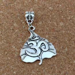 Om yoga pulseiras on-line-30 pçs / lote dangle folha de árvore de prata antigo om yoga sinal charme beads fit pulseiras europeias jóias diy 24.8x44.2mm a-383a