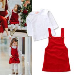 Vestidos de cor do oceano on-line-Novas roupas infantis set meninas branco de mangas compridas T-shirt + sling oceano vermelho Uma palavra vestido de cor sólida de duas peças
