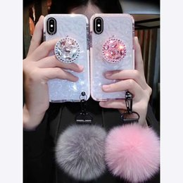 caja del teléfono de cristal diy Rebajas Bola de piel de bricolaje con correa Soporte de cristal CZ Cubierta de correa de diamante para iphone X 6s 7 8Plus XS MAX XR Funda de teléfono TPU suave Coque transparente