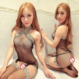 Frete Grátis New sexy lingerie cosplay Leopard sexy cordas sedutoras corpo conectado malha one-piece sling transparente uniforme conjunto de pijamas de