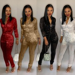 f083e67f23c New Dazzling Gilding Women Jumpsuit Zipper Turtleneck Long Sleeve Romper  Club Party Overalls Female Jumpsuit Plus Size 3XL pencil Trousers