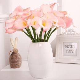 Argentina Barato lirios artificiales flores de la boda púrpura rosa ramo de la boda decoraciones para el hogar Soft Latex Real Touch boda paquete de flores 2019 cheap cheap pink decorations Suministro