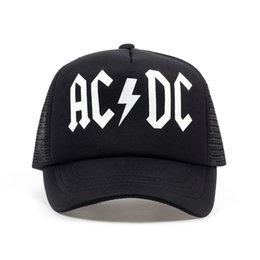 i ventilatori dell'ac dc Sconti TUNICA Uomini donne fredde Cappelli Trucker Mesh ACDC Rock Band Fan Cap AC / DC Rock Band Caps AC DC Heavy Metal Rock Music Fans protezione del cappello