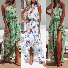 Vestito sleeveless lungo floreale di modo online-CHAMSGEND donna dress2018 Fashion Women Boho Floral Long Maxi Dress senza maniche Evening Party Summer Beach Sundress June28