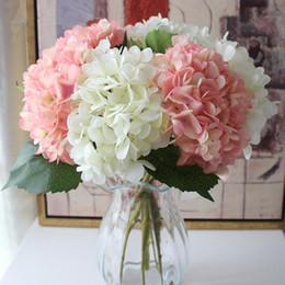 seda blanca planta de glicina boda Rebajas 15 colores flores artificiales ramo de hortensias para la decoración del hogar arreglos florales banquete de boda decoración suministros CCA11677 20 unids