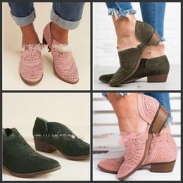 Pantalones cortos de med online-Los zapatos puntiagudos del tobillo ahuecan hacia fuera las botas cortas Estilo Ventilación del talón de las mujeres con colores de gran tamaño Mezcla Primavera y otoño 38wlf1