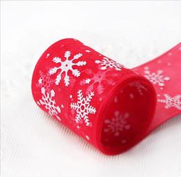 sagome di bordo oro burgundy Sconti 23 cm / rotolo 25yds decorazione della festa di Natale neve fiore organza nastro confezione regalo di Natale arco di alta qualità